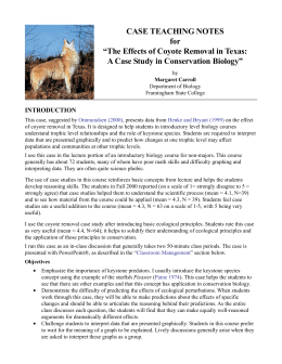 The Effects of Coyote Removal in Texas - Case study