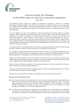 Key messages on the EIOPA report on Long