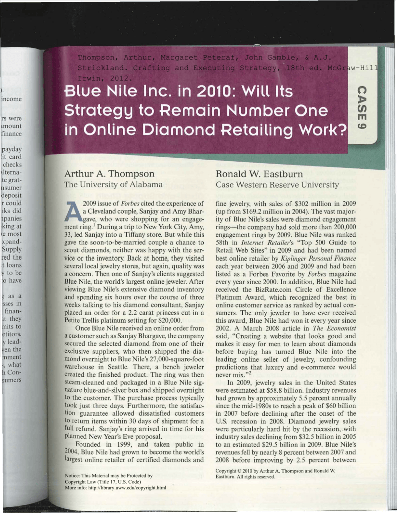 8d358391eb7f1 Blue Nile Inc. in 2010: will its strategy to remain number one in