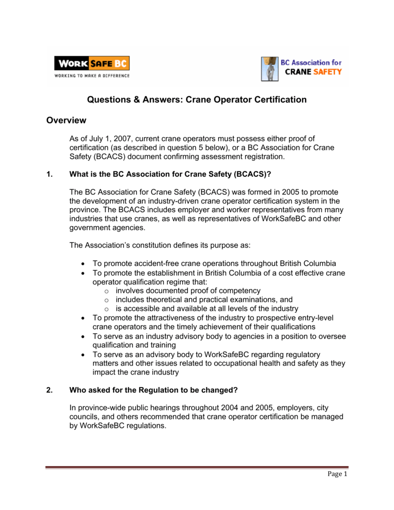 Questions Answers Crane Operator Certification