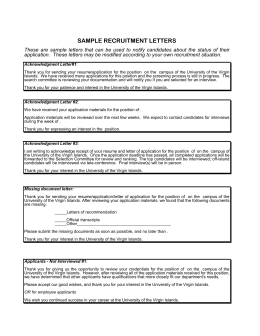 Recruitment Letters Template - University of the Virgin Islands
