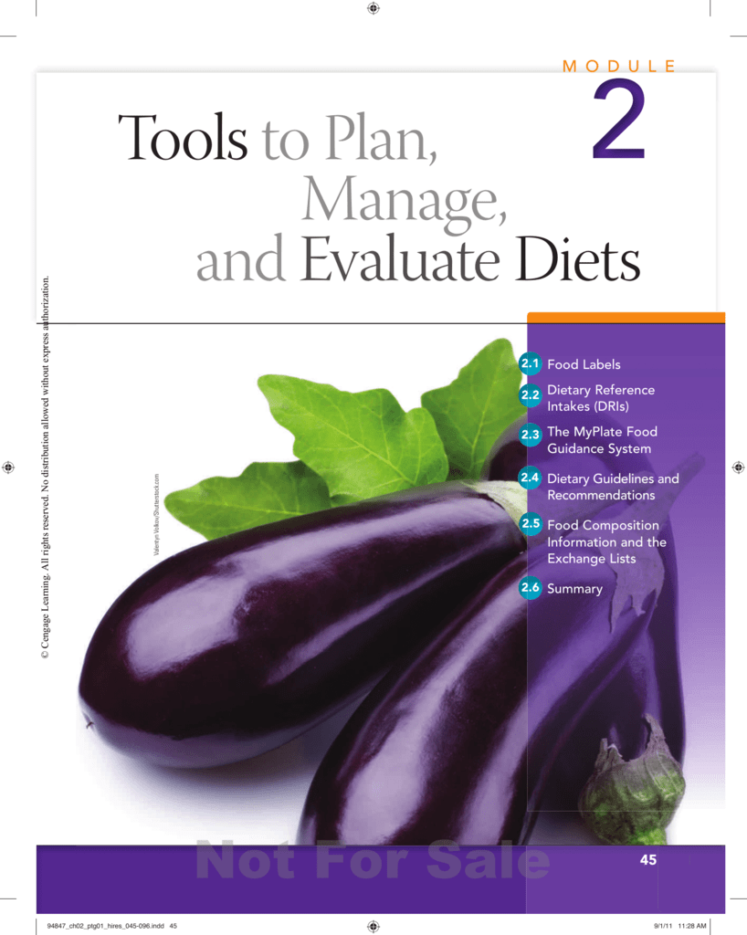 Tools To Plan Manage And Evaluate Diets