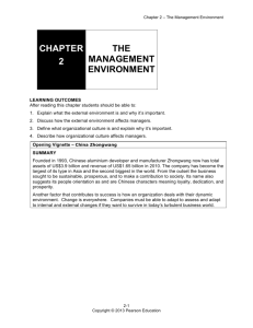 CHAPTER 2 THE MANAGEMENT ENVIRONMENT
