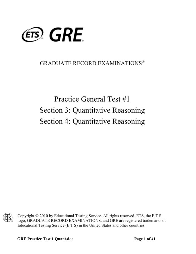 GRE Practice Test 1: Quantitative Reasoning
