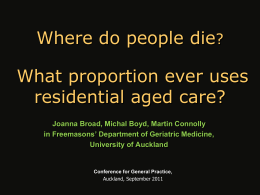 Where do people die: what proportion use residential care?