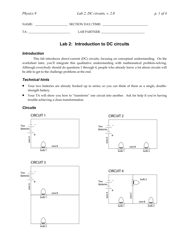 Lab 2: Introduction to DC circuits