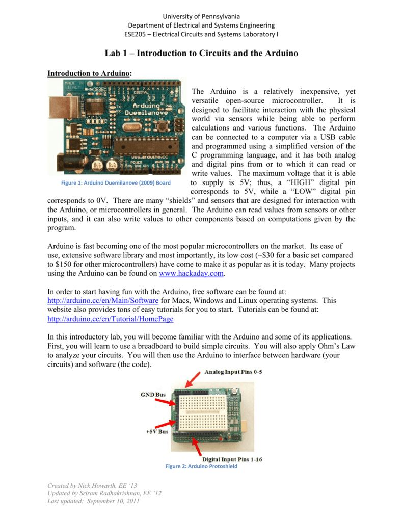 Lab 1 Introduction To Circuits And The Arduino Digital Are Very Different From Built On Analog