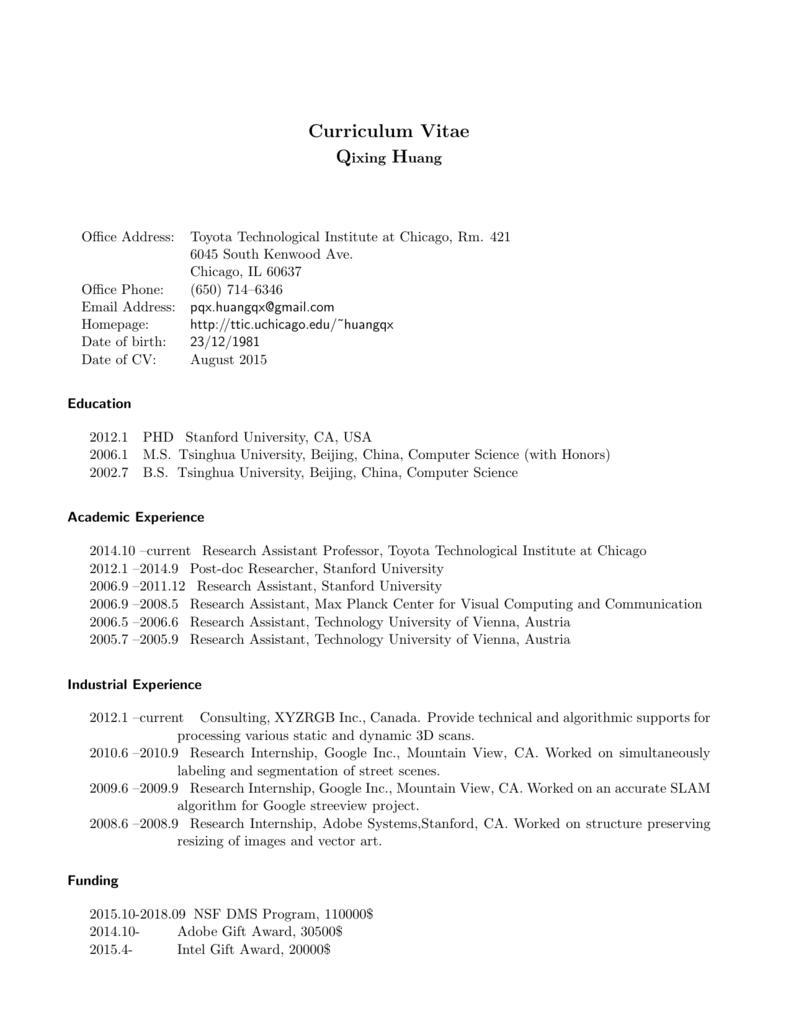 Curriculum Vitae - Toyota Technological Institute at Chicago