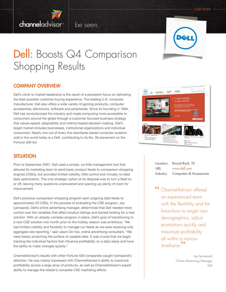 Dell: Boosts Q4 Comparison Shopping Results