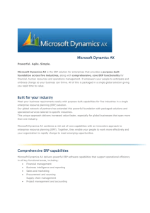 Microsoft Dynamics AX Built for your industry Comprehensive ERP
