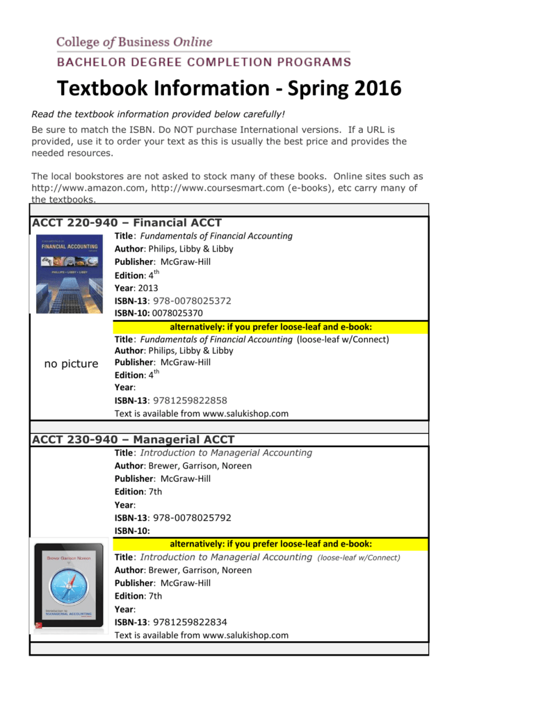 Textbook information spring 2016 fandeluxe Choice Image
