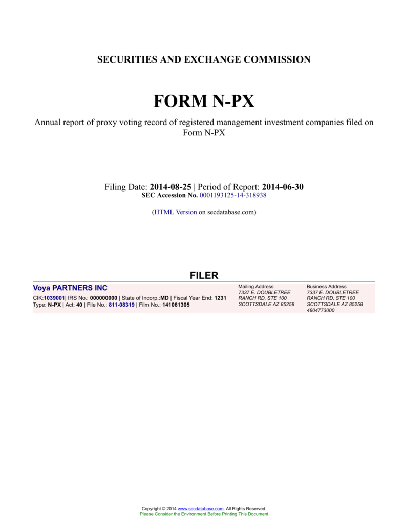 securities and exchange commission form n-px