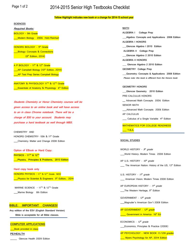2014 2015 Senior High Textbooks Checklist