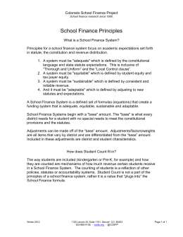 School Finance Principles - Colorado School Finance Project