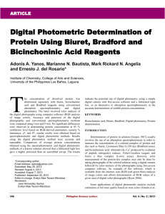 Digital Photometric Determination of Protein Using Biuret, Bradford