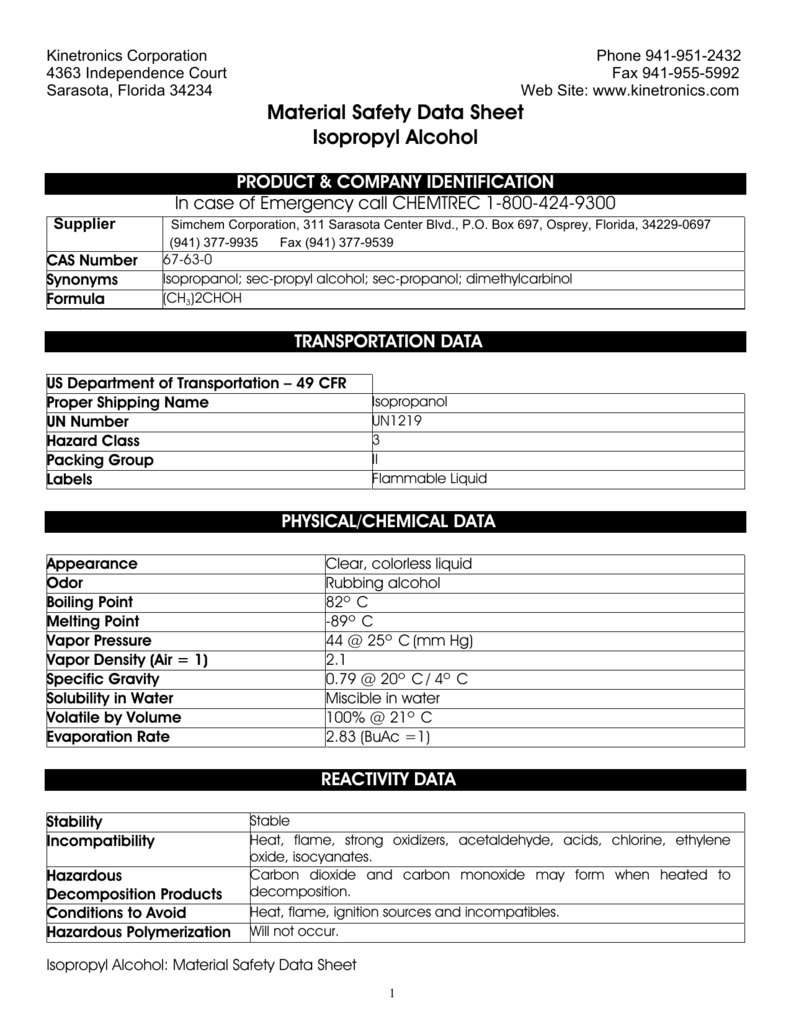 Material Safety Data Sheet 99 Isopropyl Alcohol