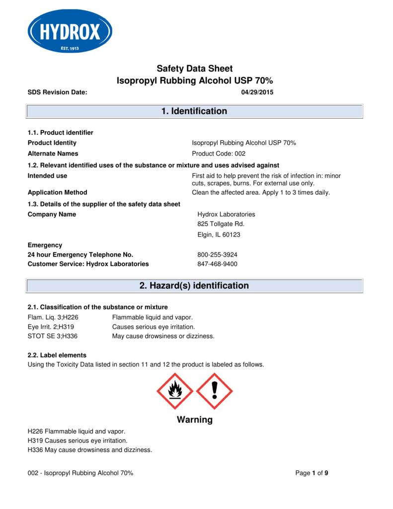 Safety Data Sheet Isopropyl Rubbing Alcohol USP 70 1
