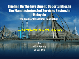 Briefing On The Investment Opportunities In The Manufacturing And