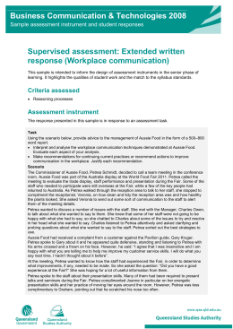 Extended written response (Workplace communication): Business
