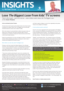 Lose The Biggest Loser from kids' TV screens