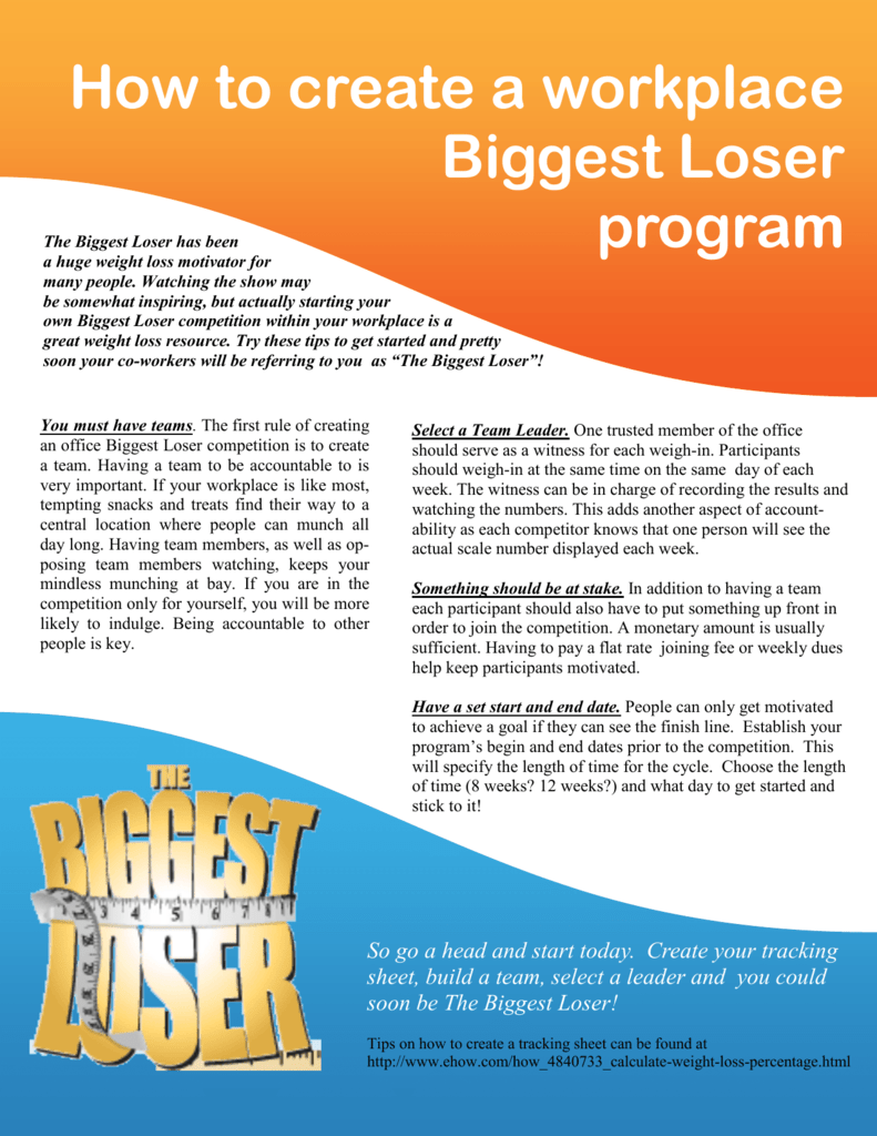 How to create a workplace Biggest Loser program