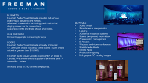 BUSINESS Freeman Audio Visual Canada provides full