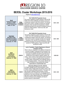 BE/ESL Cluster Workshops 2015-2016