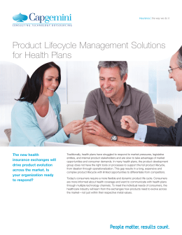 Product Lifecycle Management Solutions for Health Plans