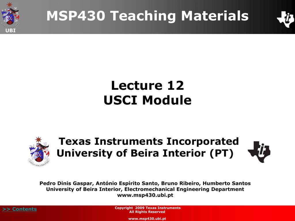 USCI registers (UART, SPI and I2C modes)