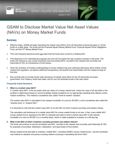 GSAM to Disclose Market Value Net Asset Values