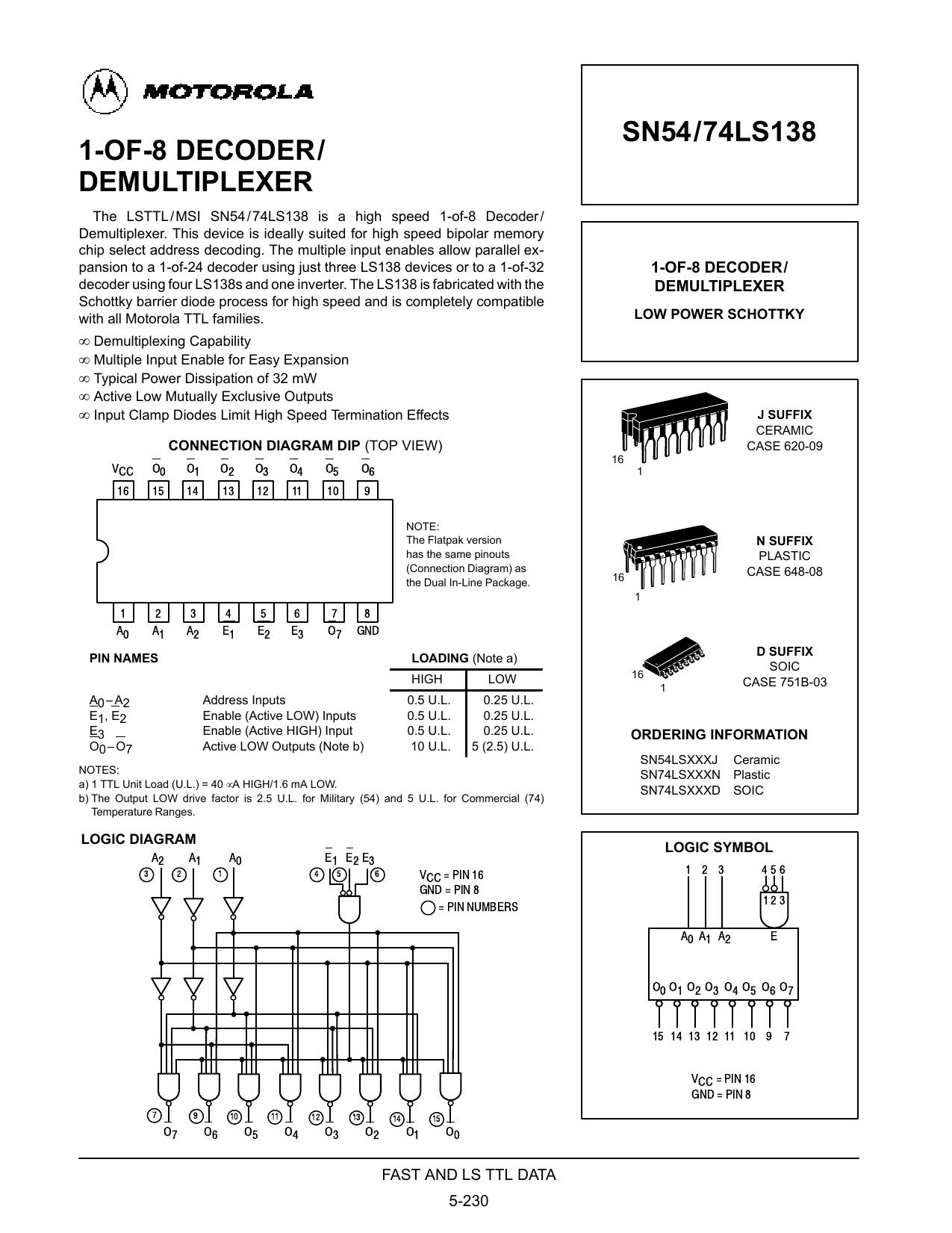 1 Of 8 Decoder Demultiplexer Sn5474ls138