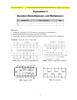 Experiment 5 Decoders/Demultiplexers and Multiplexers