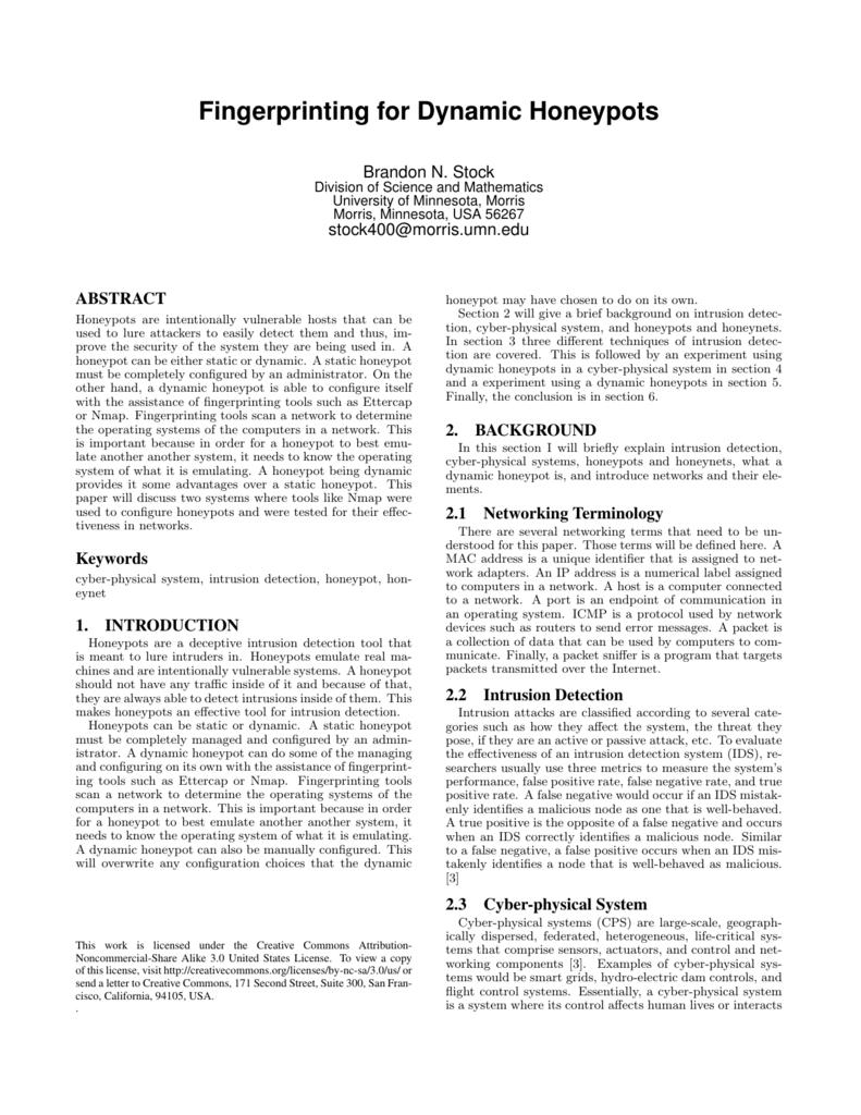 Fingerprinting for Dynamic Honeypots