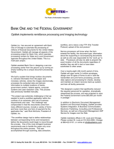 Case Study Bank One-Federal Govt Remittance