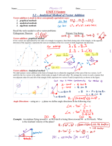 Physics 11 UNIT 5 Vectors 5.2 – Analytical Method of
