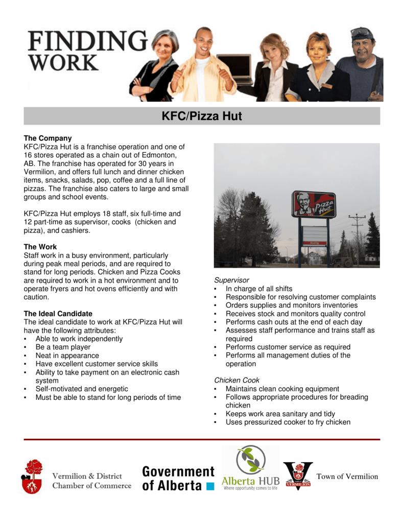 KFC/Pizza Hut - Vermilion Job Board