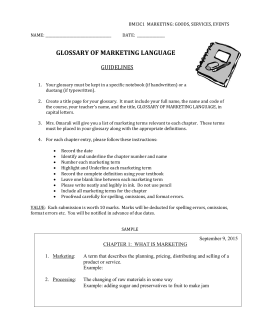 BMI3C1 MARKETING: GOODS, SERVICES