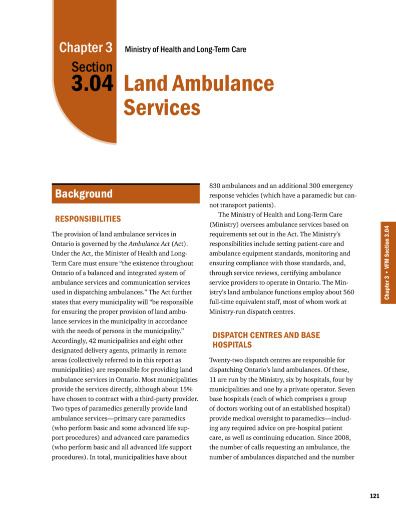 Land Ambulance Services - Office of the Auditor General of Ontario