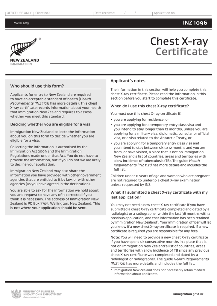 X Ray Certificate For Temporary Entry Inz 1096