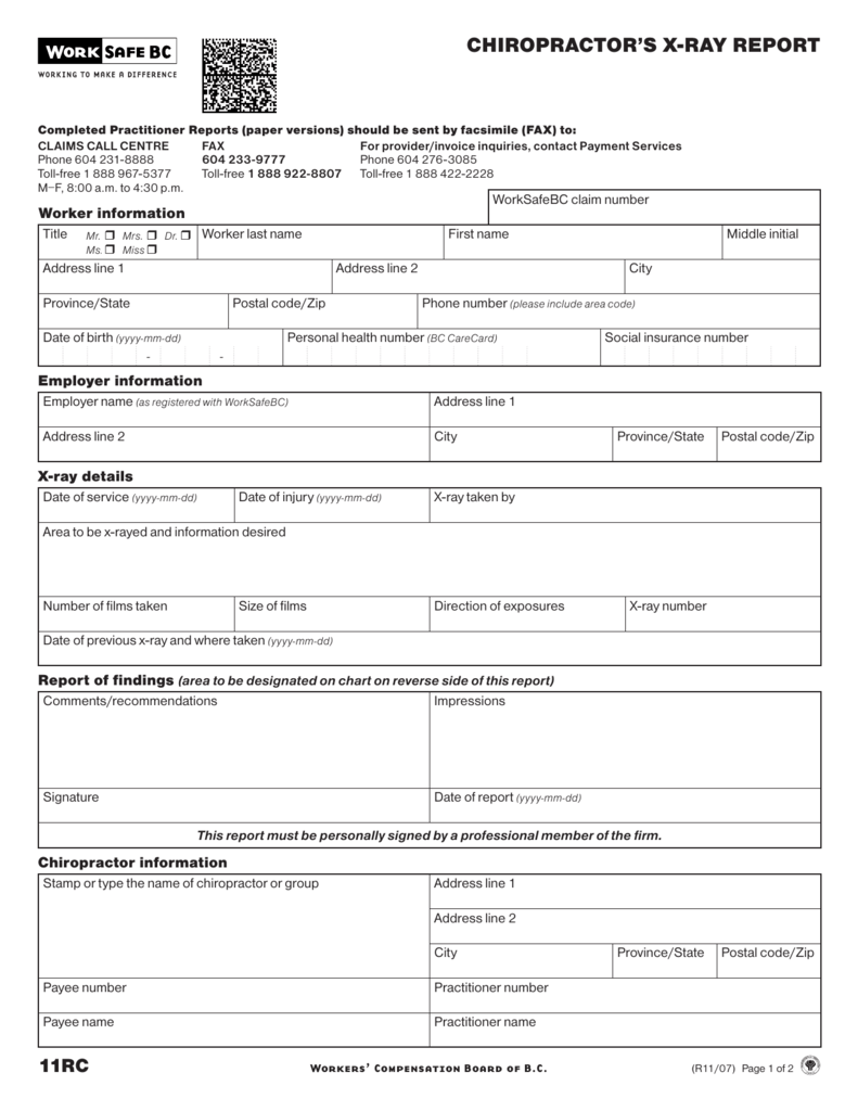 chiropractor s x ray report form 11rc