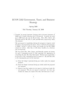 ECON 5332 Government, Taxes, and Business Strategy