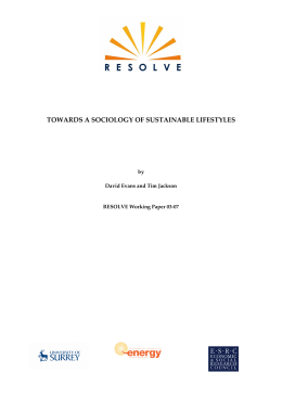 Towards a Sociology of Sustainable Lifestyles, RESOLVE Working
