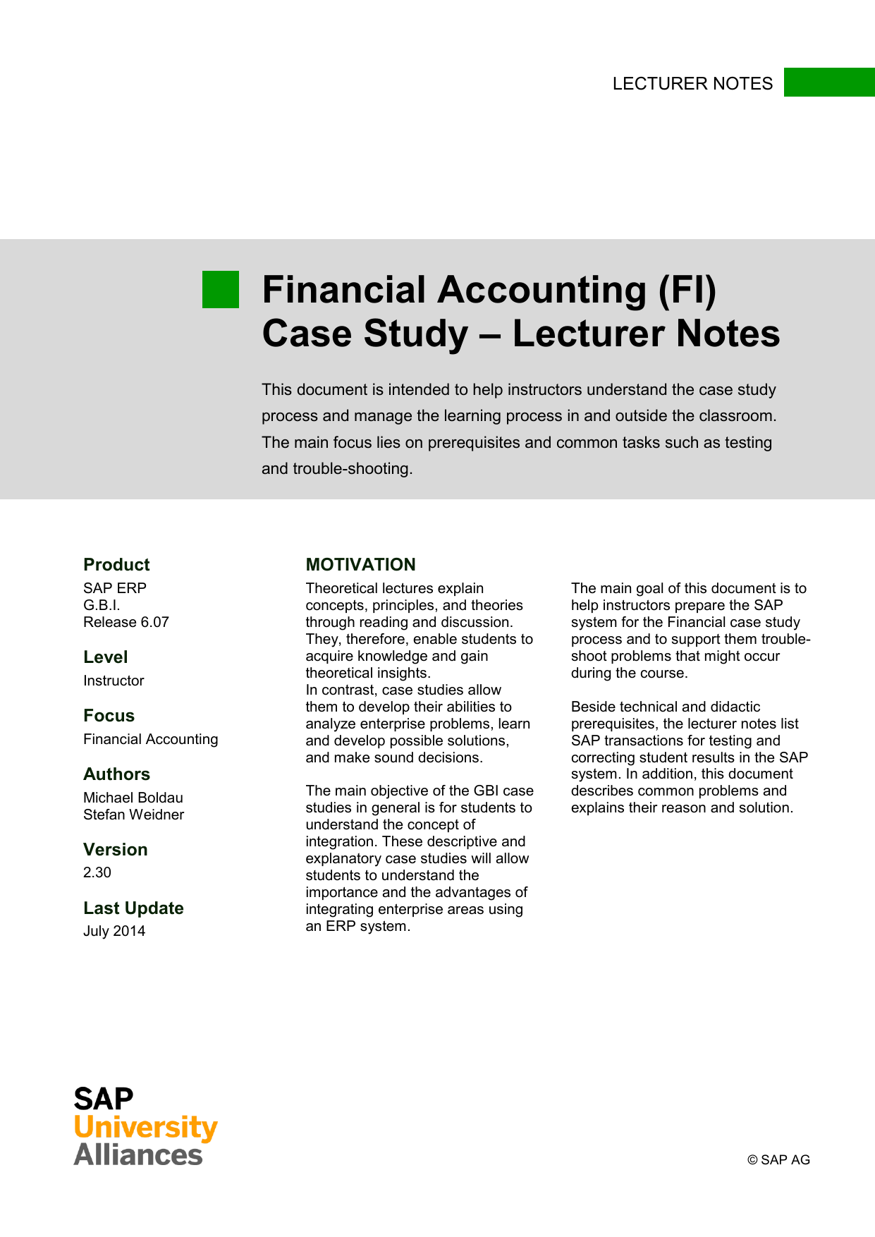 Financial Accounting (FI) Case Study – Lecturer
