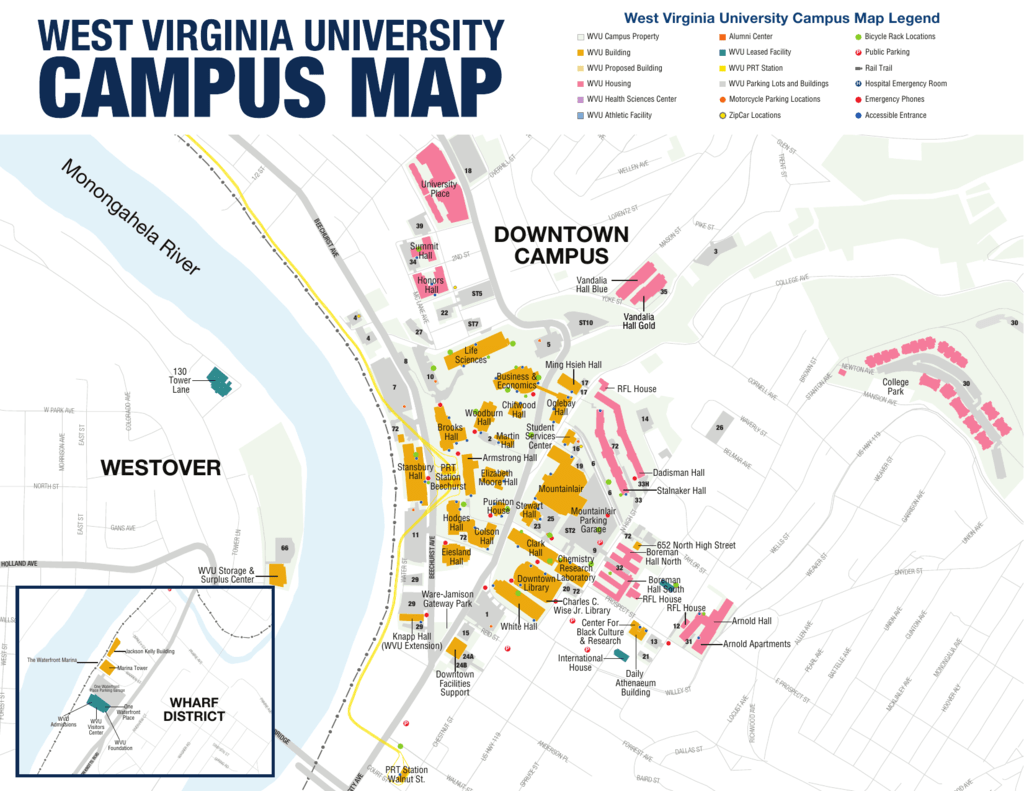 wvu evansdale campus map Westover Downtown Campus Campus Map wvu evansdale campus map