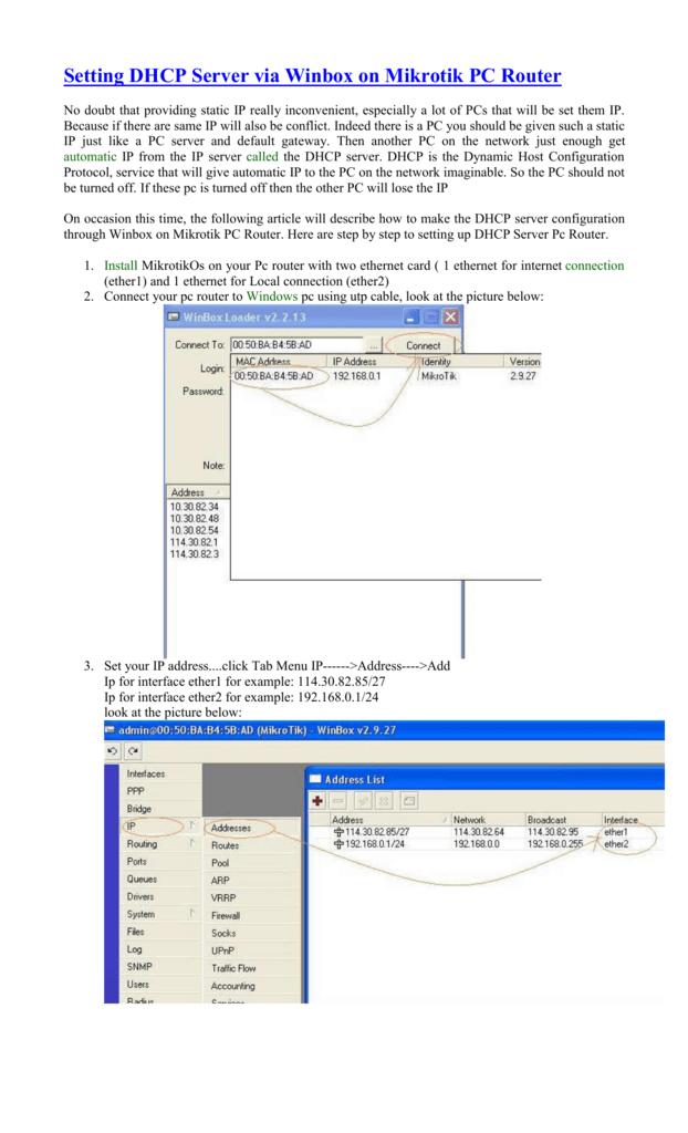 Setting DHCP Server via Winbox on Mikrotik PC Router