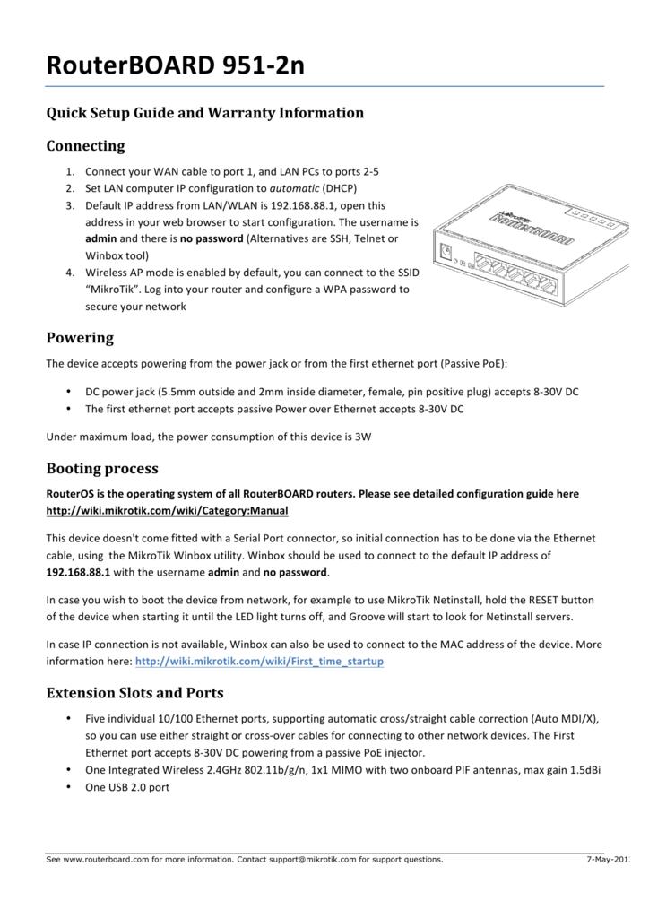 RouterBOARD 951-‐2n - Wifi