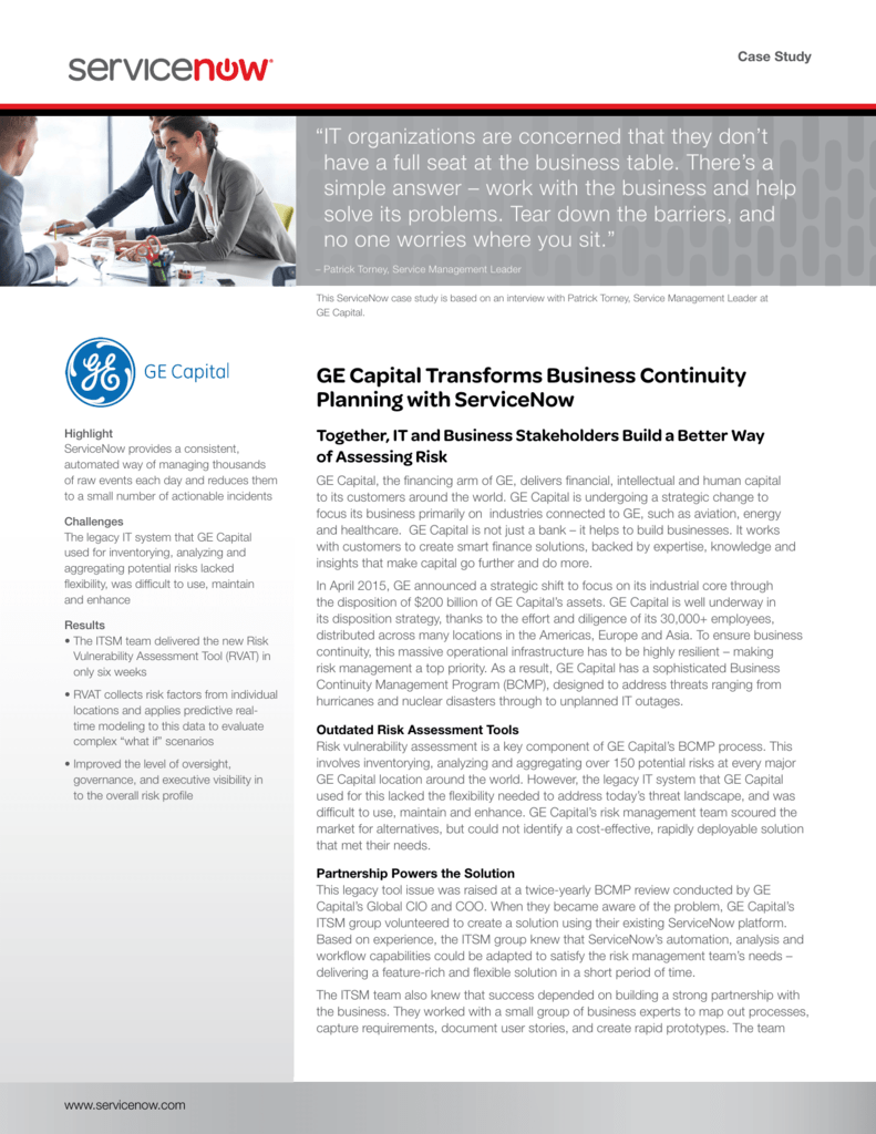 GE Capital Transforms Business Continuity Planning with