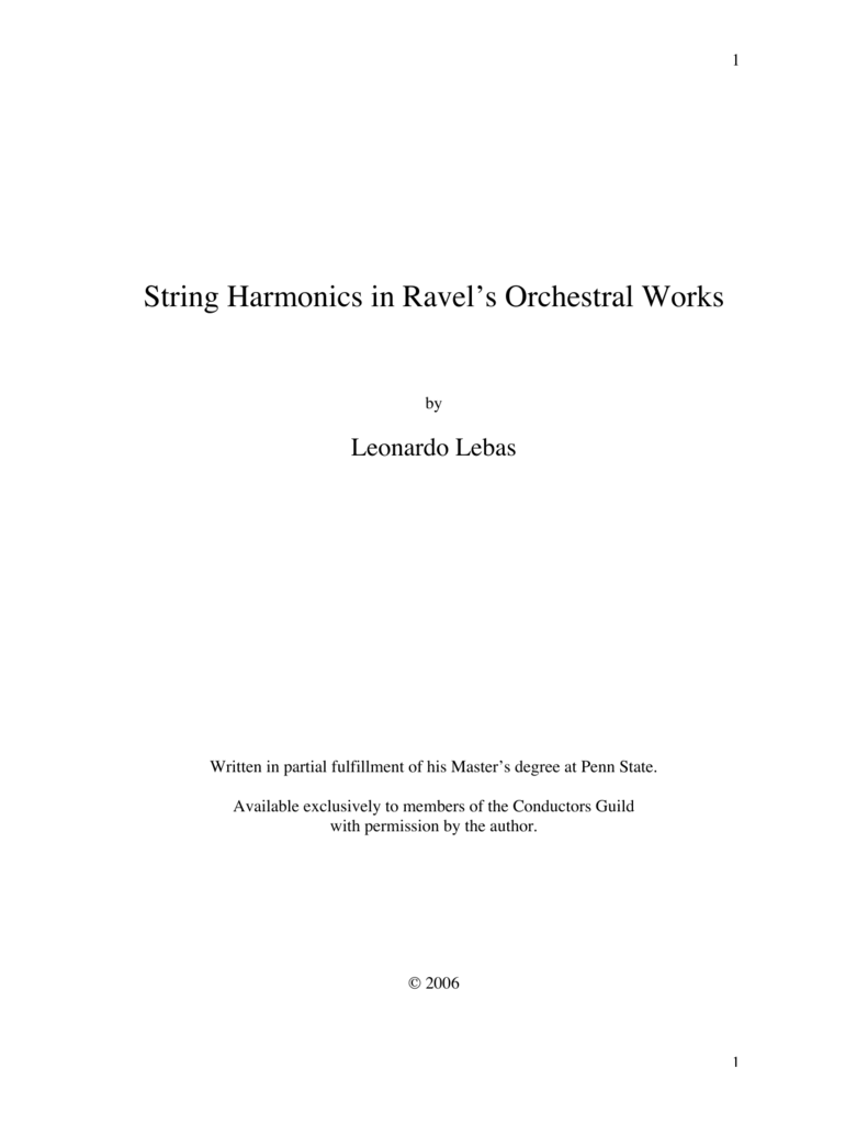 String Harmonics In Ravels Orchestral Works