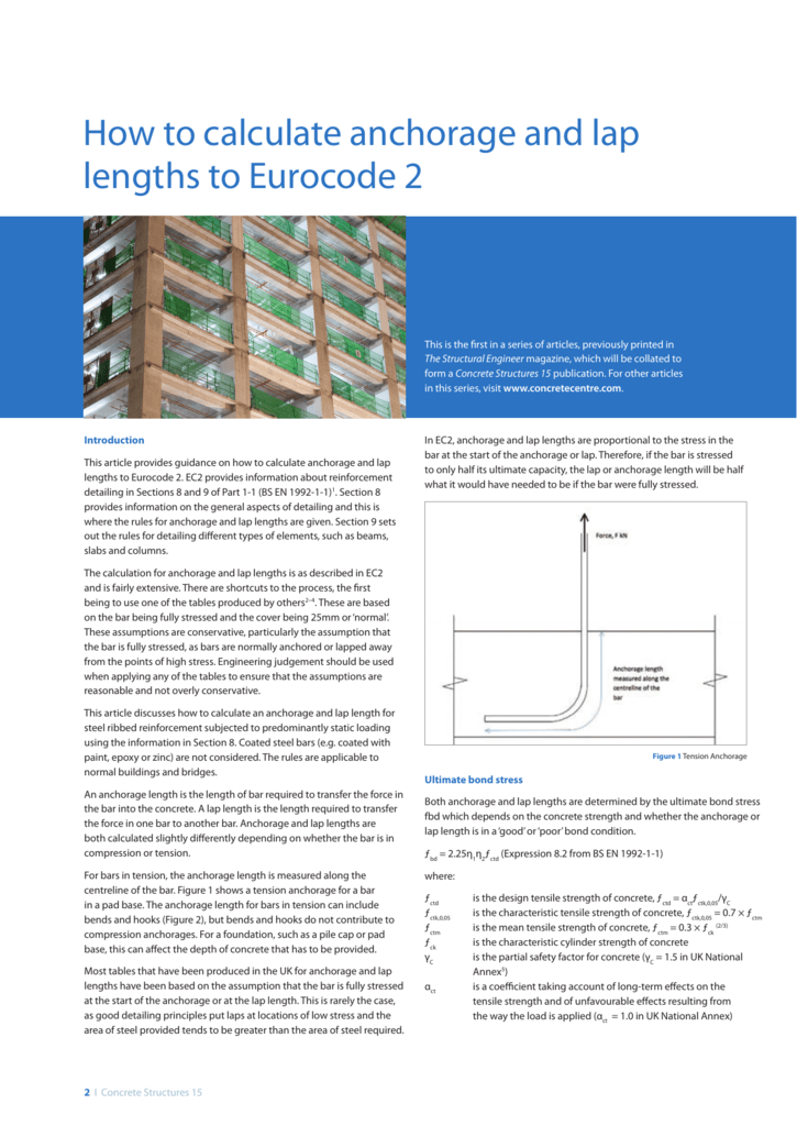 How to calculate anchorage and lap lengths to Eurocode 2