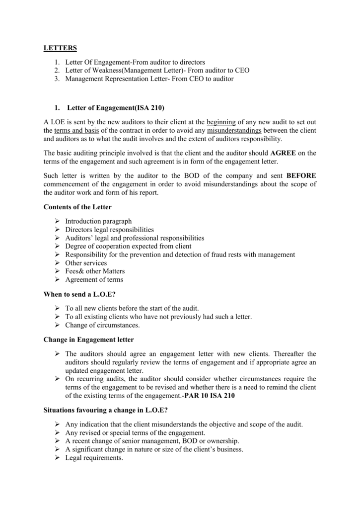 1  Letter of Engagement(ISA 210)
